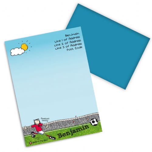 Personalised Bang on the Door Football Crazy Stationery Set